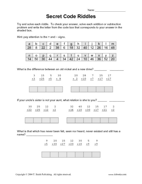 Math Secret Code Worksheets Secret Code Riddles Addition & Subtraction Worksheet for