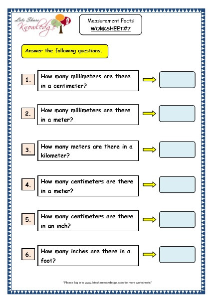 Measurement Worksheets Grade 3 Grade 3 Maths Worksheets 11 1 Measurement Facts Lets