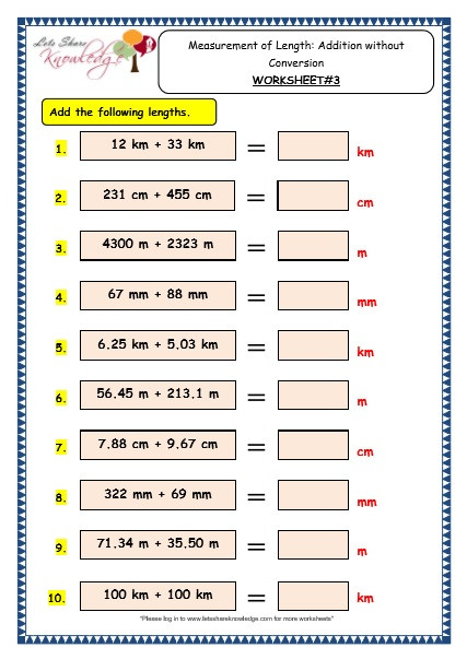 Measurement Worksheets Grade 3 Grade 3 Maths Worksheets 11 4 Measurement Of Length