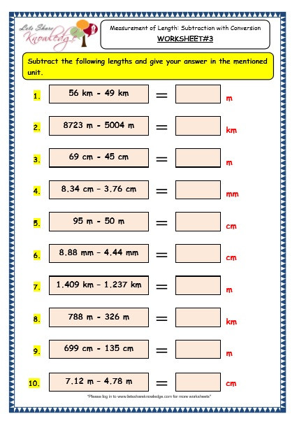 Measurement Worksheets Grade 3 Grade 3 Maths Worksheets 11 5 Measurement Of Length