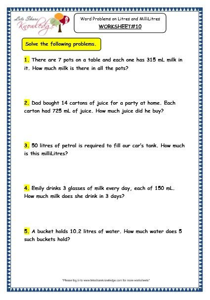 Measurement Worksheets Grade 3 Grade 3 Maths Worksheets 13 6 Measurement Of Capacity