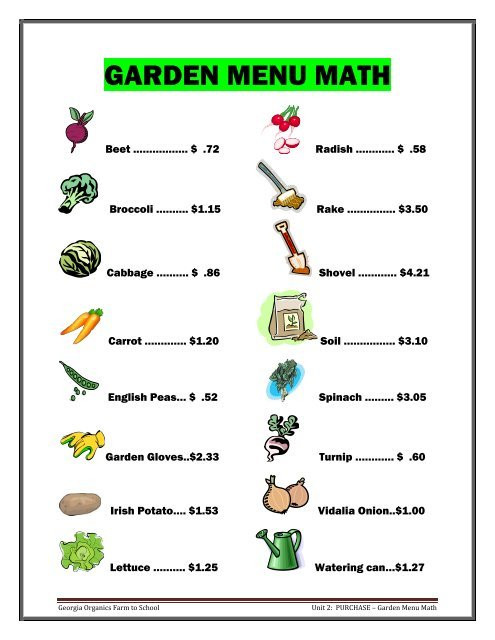 "Menu Math Worksheets Activity ¢€"" Garden Menu Math Worksheets Georgia organics"