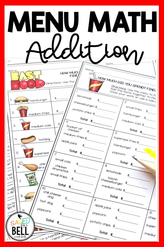 Menu Math Worksheets Addition Money Worksheets and Word Problems Menu Math