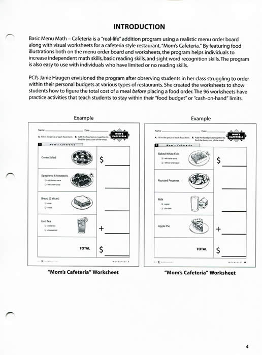 Menu Math Worksheets Cafeteria Basic Menu Math