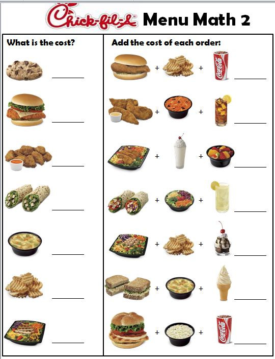 Menu Math Worksheets Empowered by them Chickfila Menu