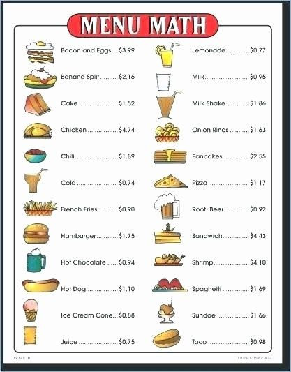 Menu Math Worksheets Pin On Grade Math Worksheets & Sample Printables