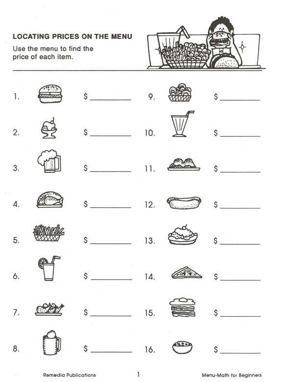 Menu Math Worksheets Real Life Math Menu Math for Beginners