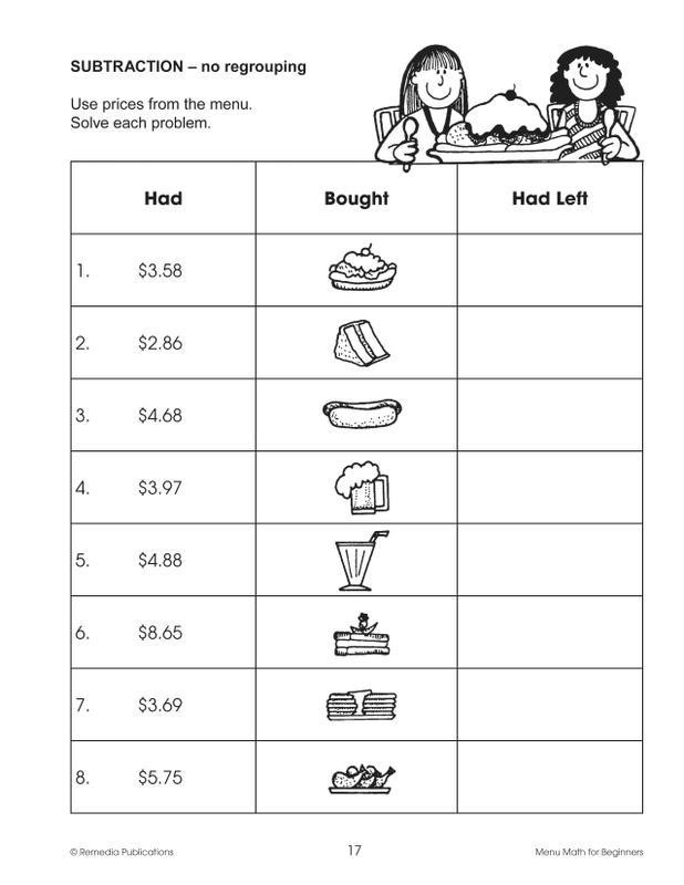 Menu Math Worksheets Remedia Publications Real Life Math Series Menu Math for Beginners Activity Book