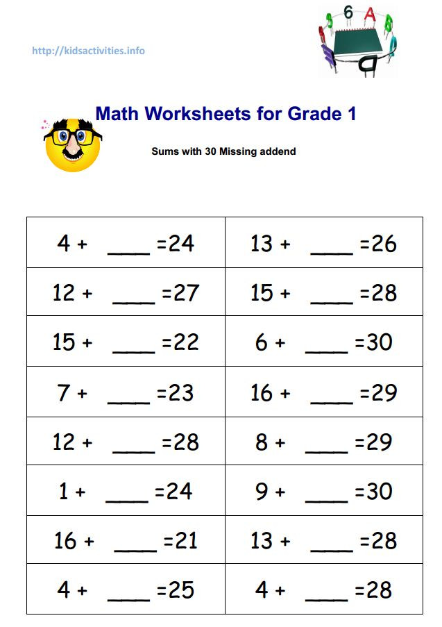 Missing Addend Worksheets First Grade Missing Addend Worksheets with Pictures