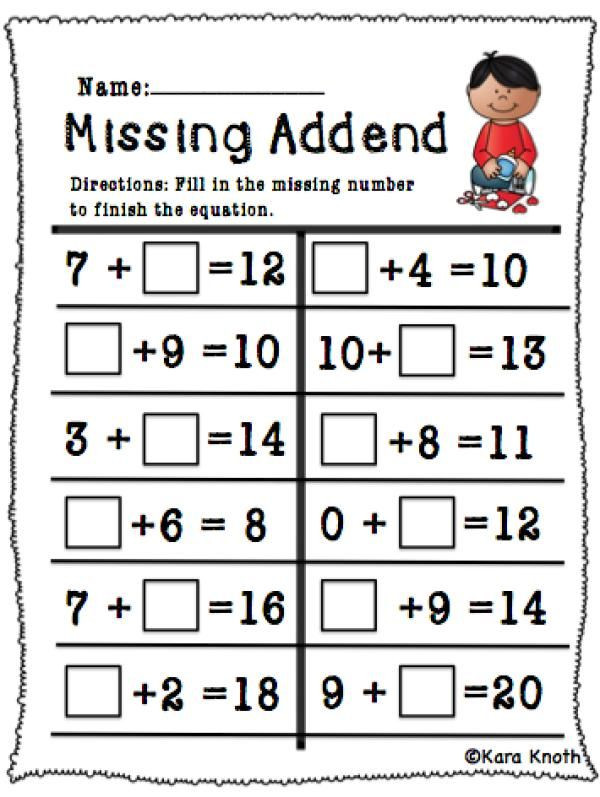 Missing Addend Worksheets First Grade Pinstamatic Get More From Pinterest