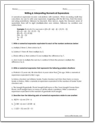 writing numerical expressions worksheet