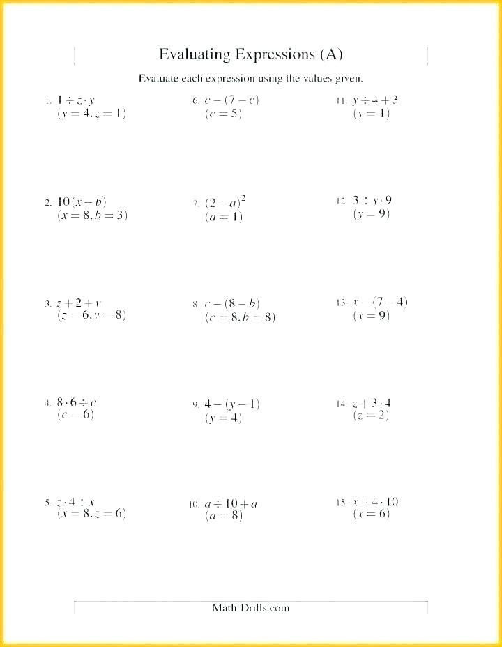 Numerical Expressions Worksheets 6th Grade 29 Evaluating Algebraic Expressions Worksheet Pdf