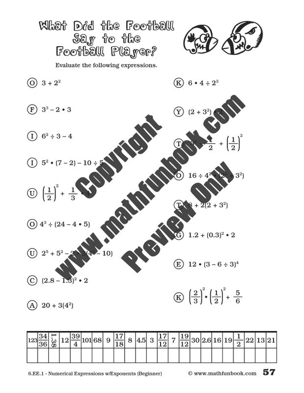 Numerical Expressions Worksheets 6th Grade Grade 6 Mon Core Math Worksheets Math Funbook