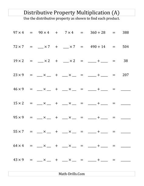 Numerical Expressions Worksheets 6th Grade Upload Distributive Property Multiplication Worksheets