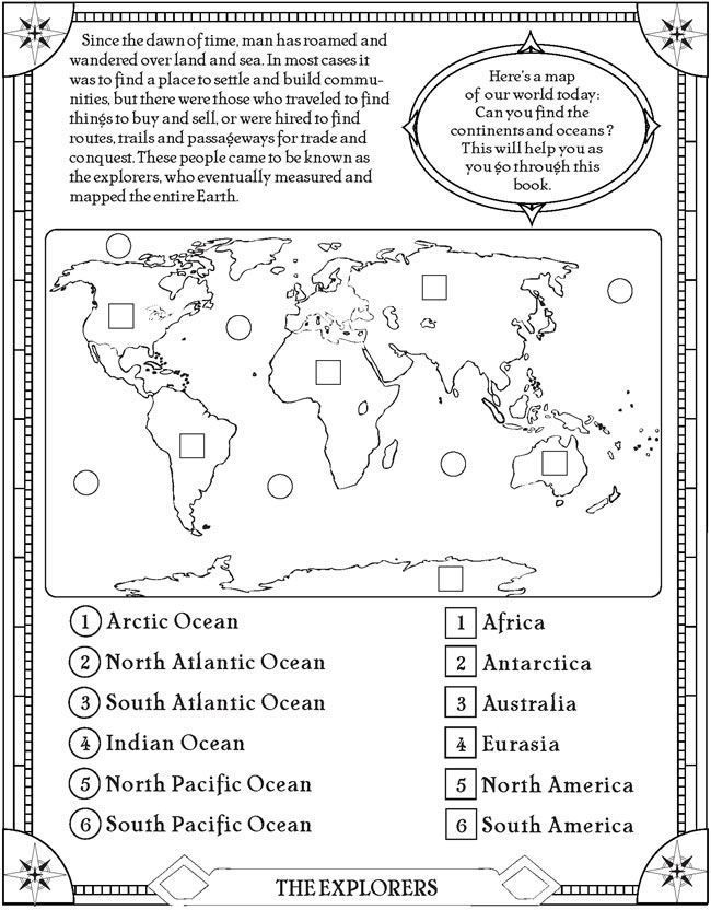 Ocean Worksheets for 2nd Grade Find the Oceans and Continents Page Free Printable