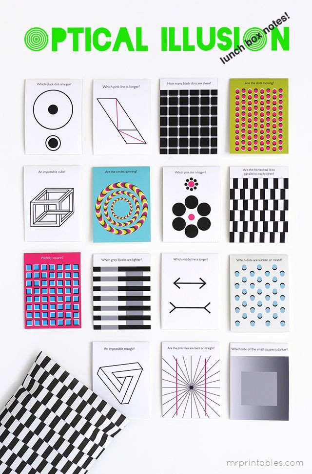 Optical Illusion Worksheets Printable Optical Illusion Printable Lunch Box Notes