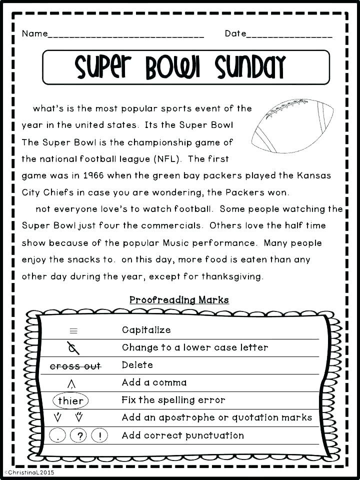 Paragraph Editing Worksheets 4th Grade Kindergarten Capitalized Math Printable Middle School