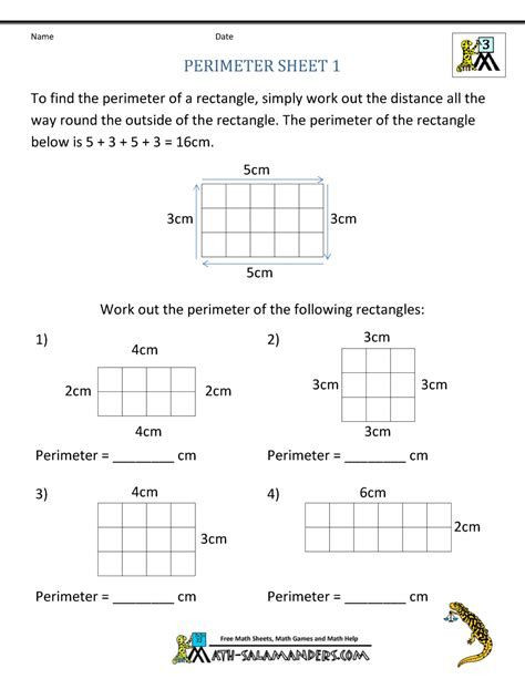 Perimeter Worksheets 3rd Grade Free area and Perimeter Worksheets for 3rd Grade Home