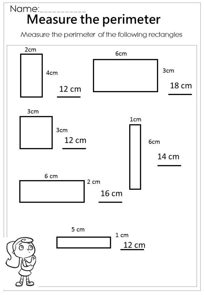 Perimeter Worksheets 3rd Grade Measure the Rectangle Perimeter Worksheet