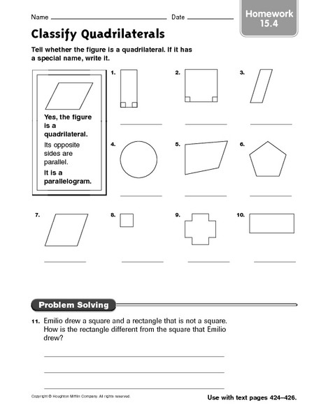 Polygon Worksheets 4th Grade Classify Quadrilaterals Homework 15 4 Worksheet for 3rd