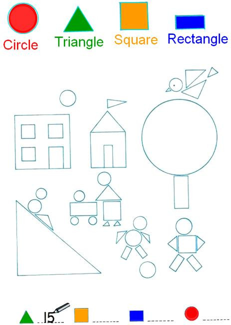 Polygon Worksheets 4th Grade Count and Color the Shapes