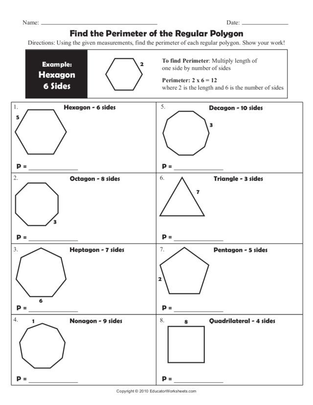 Polygon Worksheets 4th Grade Find the Perimeter Of the Regular Polygon Worksheet for 4th