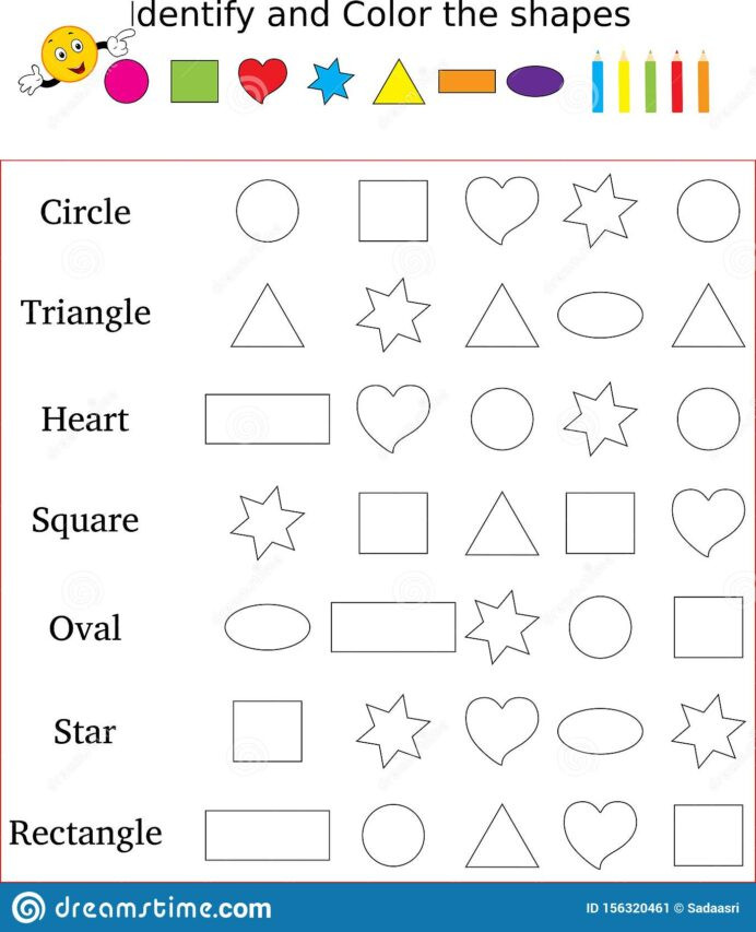 Polygon Worksheets 4th Grade Identify and Color the Correct Shape Worksheet Stock Image