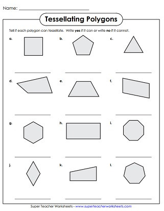 Polygon Worksheets 4th Grade Tessellation Worksheets