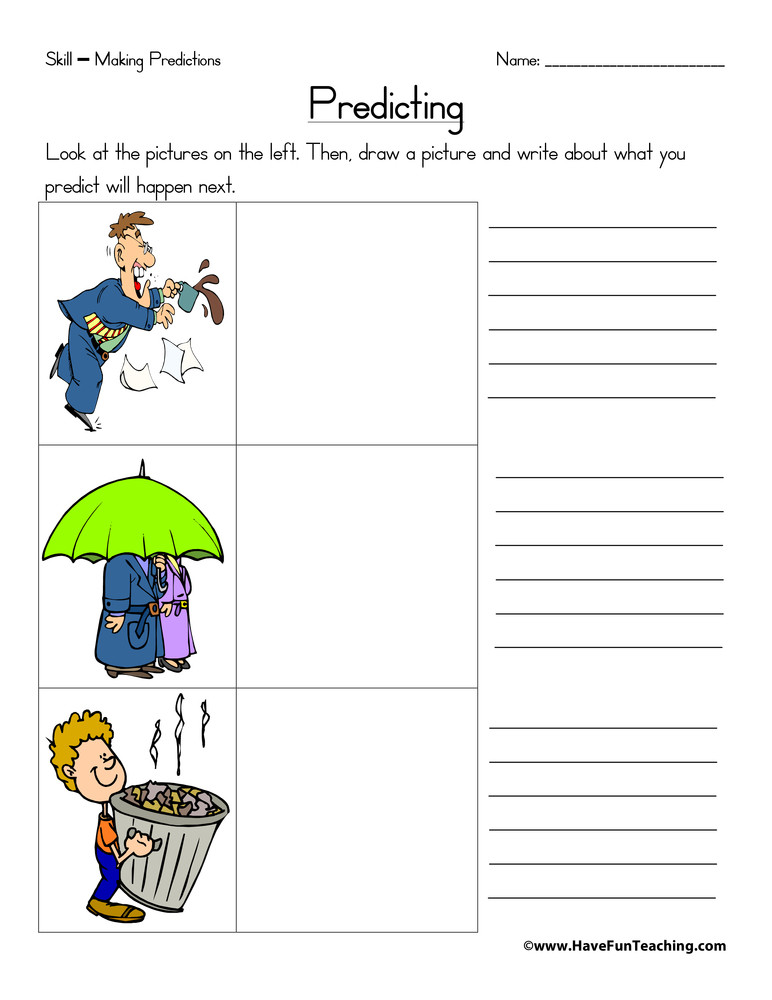 Prediction Worksheets for 2nd Grade Predicting Worksheet