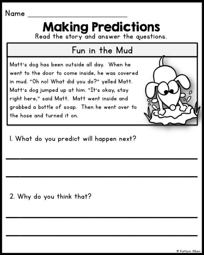 Prediction Worksheets for 2nd Grade Reading Prehension Passages Predicting Skills for First