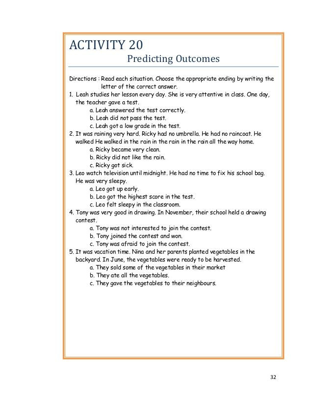 Prediction Worksheets for 3rd Grade 32 Activity 20 Predicting Out Es Directions Read Each