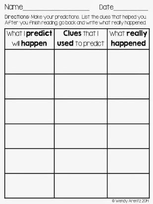 Prediction Worksheets for 3rd Grade Free Prediction Graphic organizer