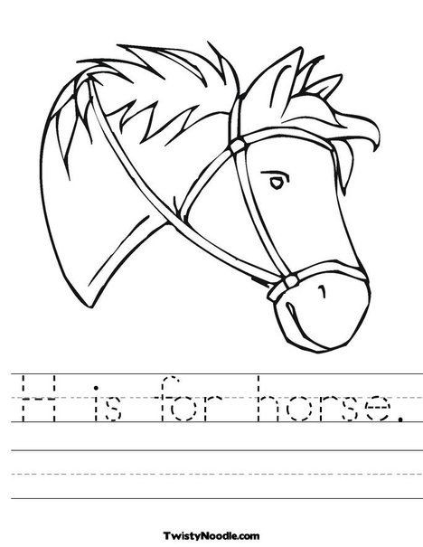 Printable Horse Anatomy Worksheets H is for Horse Worksheet