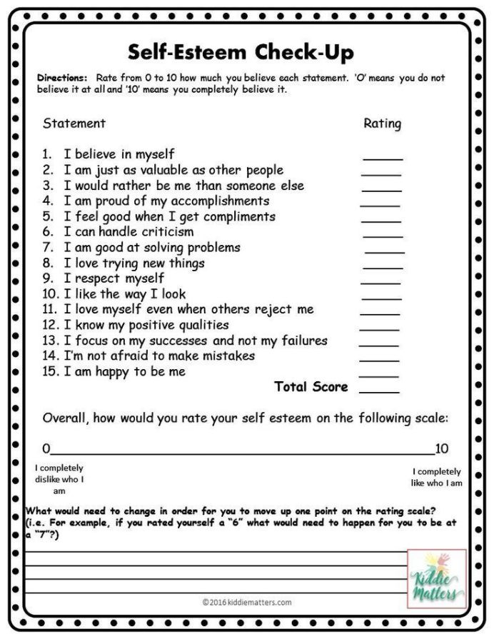 Printable Self Esteem Worksheets Self Esteem Worksheets with Activities Confidence 9th