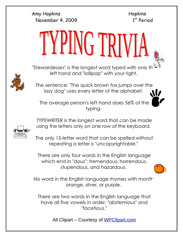 Printable Typing Worksheets Typing Trivia Keyboarding Practice