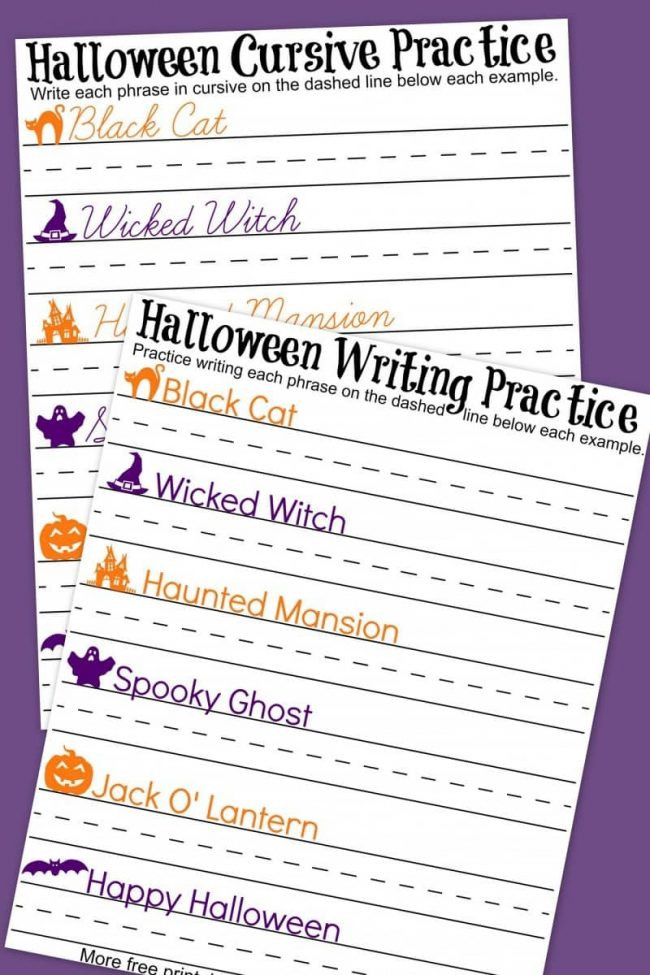 Printable Typing Worksheets Worksheet Halloween Cursive Handwriting Practice