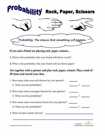 Probability Worksheets 7th Grade Pdf Worksheets Rock Paper Scissors Probability
