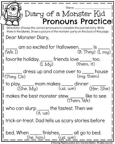 Pronoun Worksheets 2nd Grade October First Grade Worksheets