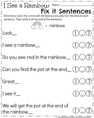 Punctuation Worksheets for Kindergarten March Kindergarten Worksheets