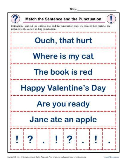 Punctuation Worksheets for Kindergarten Match the Sentence and the Punctuation