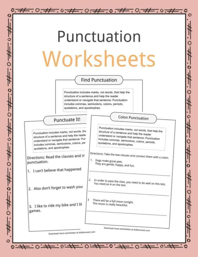 Punctuation Worksheets for Kindergarten Punctuation Examples Worksheets Description for Kids Proper