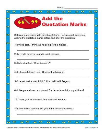Quotation Worksheets 4th Grade Add the Quotation Marks Worksheet