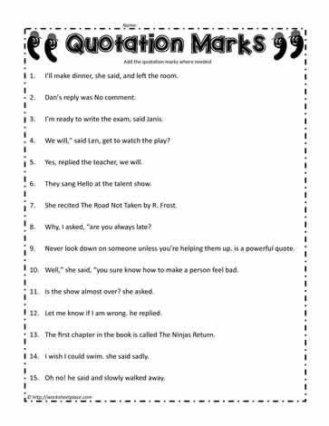 Quotation Worksheets 4th Grade Quotation Mark Worksheet