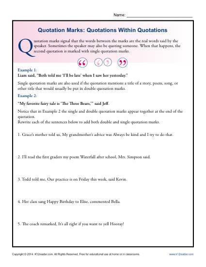 Quotation Worksheets 4th Grade Quotation Marks Quotations within Quotations