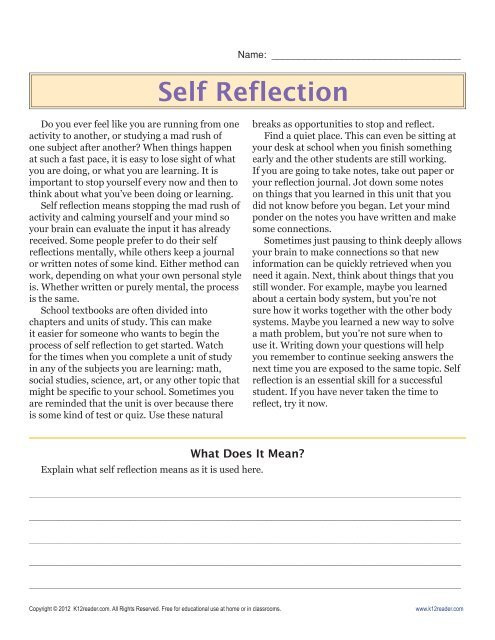 Reading Comprehension Worksheets 6th Grade 6th Grade Reading Prehension Worksheets Self Reflection