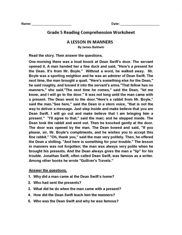 Reading Comprehension Worksheets 6th Grade Reading Exercises for 6th Graders Pdf