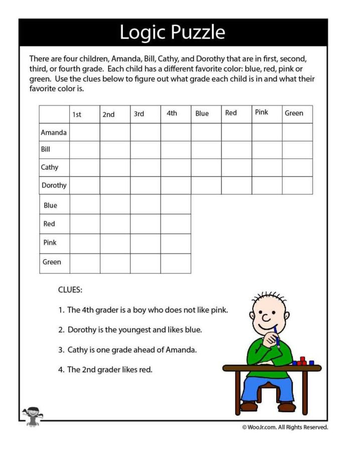 Reasoning Worksheets for Grade 1 Math Reasoning Problems Logic Puzzles Worksheets Cloze