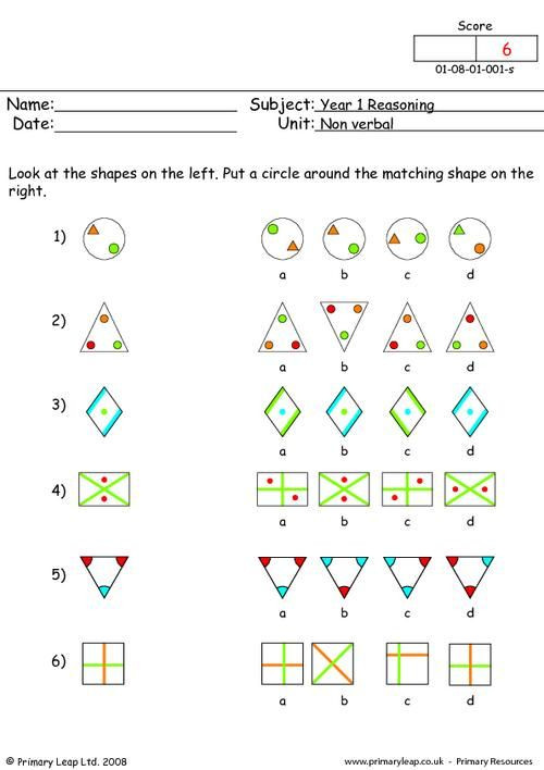 Reasoning Worksheets for Grade 1 Primaryleap Matching Shapes 1 Worksheet