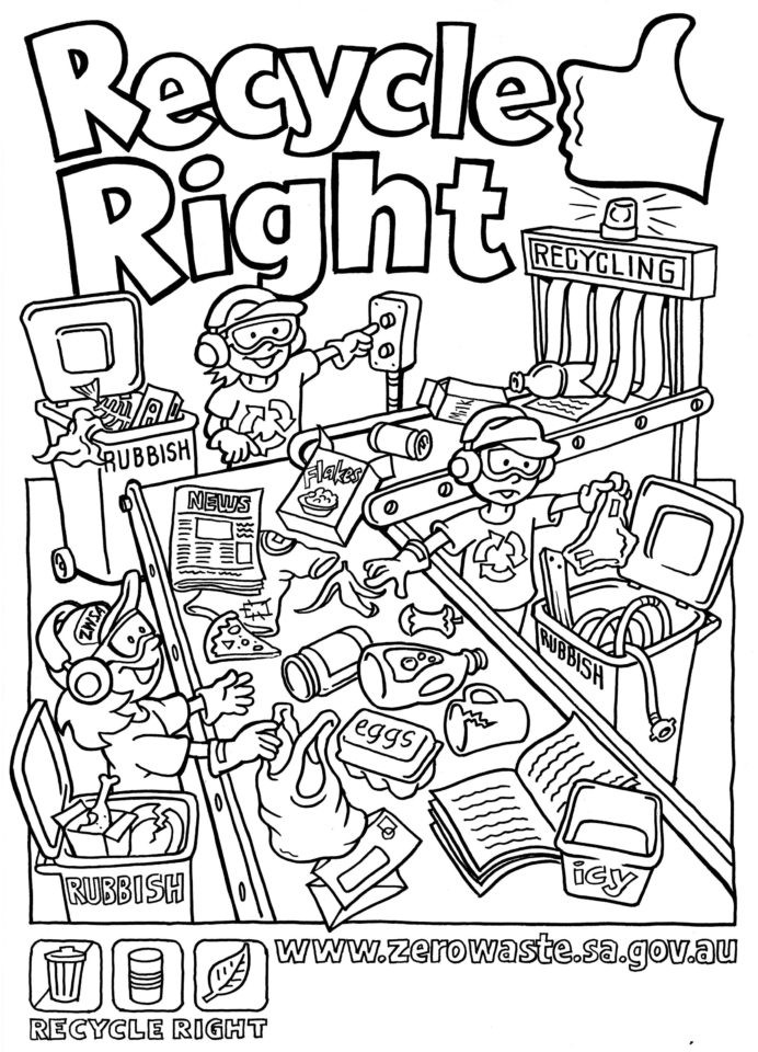 Recycle Worksheets for Kindergarten Recycling Coloring for Kids Az Free Worksheets Graphically
