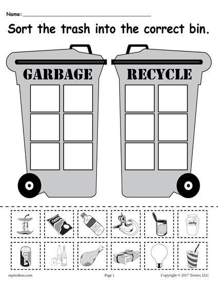 Recycle Worksheets for Kindergarten sorting Trash Earth Day Recycling Worksheets 4 Printable